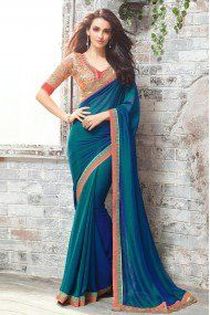 Chiffon And Jacquard Party Wear Saree In Teal Colour