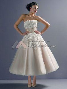 Lace Applique Strapless Tea-length Wedding Gown (MLJA0002)