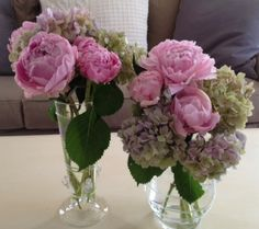 Our beautiful medium pink peonies wedding flowers mixed with hydrangeas make up these peony flower arrangements that make great wedding centerpieces. Country Wedding Flowers, Neutral Wedding Flowers, Winter Wedding Flowers, Rustic Wedding Flowers, Flower Bouquet Wedding, Bridal Bouquets, Boho Wedding, Hydrangea Wedding Flower Arrangements, Hortensien Arrangements