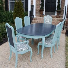 Vintage French Thomasville dining room table refinished in Graphite & Duck Egg Blue Chalk Paint® decorative paint by Annie Sloan | Susan of Uniquely Yours or Mine