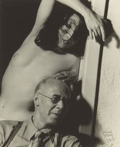 Man Ray photo of Henry Miller with Margaret, wife of artist Gilbert Neiman, whom Miller stayed with when he arrived in Los Angeles Print 1945, Original ¿1942?