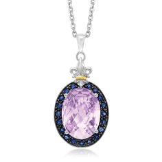 18K Yellow Gold & Sterling Silver Pink Amethyst and Black Sapphire Oval Pendant