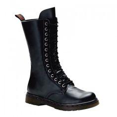 Demonia Unisex Disorder 300 Black Matt 14 Eyelet Lace-Up Calf Length Combat Boots with Inside Zip