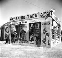 Photo Studio/Feb.52,A14f Some posters of Indian Films displayed outside one of the stalls in the International Film Festival. Photo Division #bollywoodirect #bollywood #filmfestival #rarepic