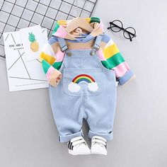 Baby Toddler Color Block Long Sleeve Sweatshirt And Rainbow Overalls Set - Light Blue, 9 12 MONTHS Source by maykalakids Sweatshirts Baby Set, Outfits Niños, Kids Outfits, Casual Outfits, Fashion Outfits, Toddler Outfits, Baby Boy Outfits, Toddler Boys, Baby Kids