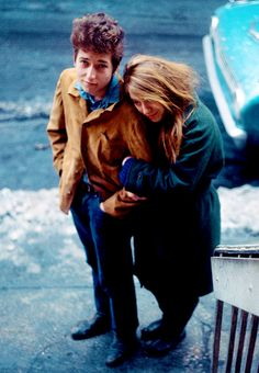 "Bob Dylan and girlfriend, Suze Rotolo, in an outtake from the photo shoot for the cover of his album ""The Freewheelin Bob Dylan"", February,1963."