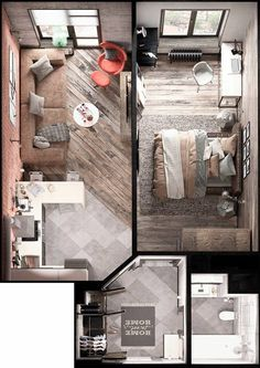 Bold Decor In Small Spaces: 3 Homes Under 50 Square Meters. Home Designing — (via Bold Decor In Small Spaces: 3 Homes Under These small apartments don't shy away from bold decor - these feature geometric, industrial, and modern themes. Studio Apartment Floor Plans, Studio Apartment Layout, Studio Layout, Small Apartment Plans, Apartment Ideas, Small Apartment Design, Single Apartment, Studio Design, Small Room Design