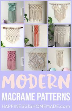 These beautiful modern macrame patterns are perfect for home decor crafters and DIY fans! Macrame is a trendy vintage revival that's making a huge comeback! via # DIY Home Decor vintage 11 Modern Macrame Patterns Modern Macrame, Macrame Art, Macrame Projects, Macrame Knots, Craft Projects, Macrame Wall Hanging Diy, How To Macrame, Macrame Wall Hangings, Macrame Supplies