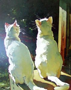 Cat painting Moonshine and Moe by Kim Starr Watercolor Cat, Watercolor Animals, Easy Canvas Painting, Canvas Art, Painting Art, Photo Chat, Illustration Art, Illustrations, Cat Drawing