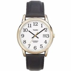 Timex Easy Reader Men's Analog Watch With Black Leather Strap Classic New Casual Watches, Cool Watches, Watches For Men, Easy Reader, Timex Watches, Black Leather Watch, Stainless Steel Case, Gold, Stuff To Buy