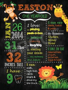 Safari Boys Girls Birthday Chalkboard Poster Sign - ANY theme or color scheme. Edmonton Alberta Canada