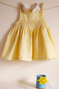 HALF PRICE Vintage Buttercup Yellow Embroidered and Smocked Girls Dress
