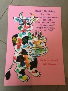 Kadootje voor mama of papa verjaardag Happy Birthday Papa, Holidays And Events, Art School, Projects To Try, Children, Cards, Diy, Gifts, Little Things