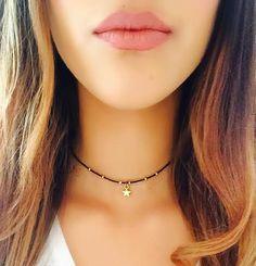 Gold Plated beaded star choker/gold star choker/star necklace/delicate star necklace/star beaded choker/beaded choker/gift for her