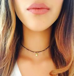 Gold Plated beaded star choker/gold star choker/star necklace/delicate star necklace/star beaded choker/beaded choker/gift for her
