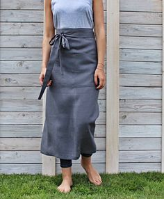 This apron is made from 100 % natural linen and handmade by Linen Sky. Functional and long-lasting apron is with two big pockets placed in front for