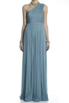 blue teal one shoulder gown dress silk tulle long formal maxi