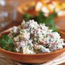 Creamy Potato Salad Recipe with sour cream, Greek yogurt, mayo & lemon juice. Sour Cream Potato Salad, Sour Cream Potatoes, Creamy Potato Salad, Fresh Potato, Southern Style Potato Salad, Cooking Recipes, Healthy Recipes, Healthy Meals, Yummy Recipes