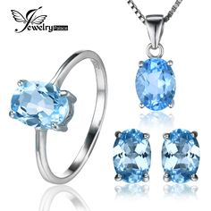 Oval 5.8ct Natrual Blue Topaz Ring Stud Earrings Pendant Necklace 925 Sterling Silver Jewelry Sets 45cm Box Chain