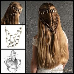 Fishtail arrow braid with a gorgeous head chain from Goudhaartje