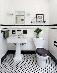 142 Marvelous Farmhouse Bathroom Tile Floor Decor Ideas and Remodel to Inspire Your Bathroom - Page 116 of 145 1920s Bathroom, Vintage Bathrooms, Small Bathroom, Glass Bathroom, Bathroom Styling, Bathroom Interior Design, Bathroom Designs, Black And White Tiles Bathroom, Black Bathrooms