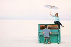 Favorite Engagement Shoot Ever. They go from a forest, to a playground, to a blue piano & to a paint fight. Love it.