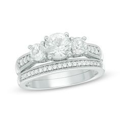 6.0mm+Lab-Created+White+Sapphire+Three+Stone+Bridal+Set+in+Sterling+Silver+-+Size+7