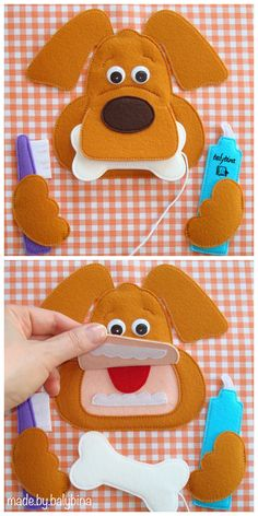 "Today's project is ""Tooth Brushing"" Quiet Book page. This red doggy with funny googly eyes will help you to teach your child to brush his teeth. Diy Quiet Books, Baby Quiet Book, Felt Quiet Books, Book Activities, Toddler Activities, Indoor Activities, Summer Activities, Homemade Kids Toys, Quiet Book Templates"