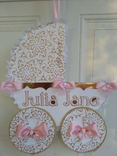 Pink And Gold Carriage Door Hanger / Baby by TheCarriageShoppe