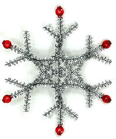 vintage holiday ornament - use tinsel pipecleaners (9 total) & red beads