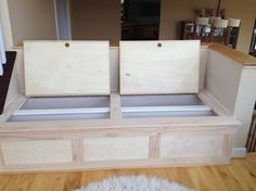 Kitchen Bench Seating With Storage | Custom Built Storage Bench Has A  Fabric Cushion On Top