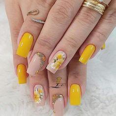 Sexy Nails, Hot Nails, Fall Nail Art Designs, Short Nails Art, Fire Nails, Floral Nail Art, Cute Acrylic Nails, Stylish Nails, Square Nails