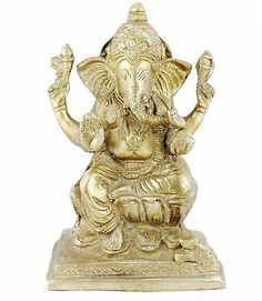 Lord Ganesha Sitting On Throne Statue Hinduism - Hindu Religious Gifts - God Sculpture Figurine - x x Mix Photo, Vintage India, New Years Sales, Lord Ganesha, Religious Gifts, Hanuman, Hinduism, Calves, Cow