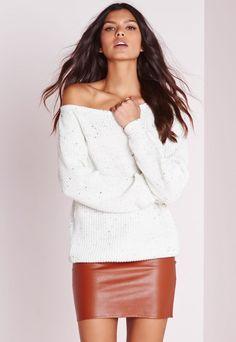 25acec0973b0 Ophelita Off Shoulder Jumper Cream - Knitwear - Missguided Off Shoulder  Sweater, Off The Shoulder