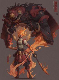 Samurai Demon and Sensei B Fantasy Character Design, Character Design Inspiration, Character Concept, Character Art, Concept Art, Fantasy Kunst, Dark Fantasy Art, Samurai Concept, Samurai Artwork