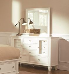 Sandy Beach Dresser & Mirror by Coaster Home Furnishings. $1369.04. Simple silver tone knobs. Eleven Drawers in Various Sizes. Classic molding. Square tapered feet. Two Transparent Doors. This dresser and mirror combo unites style with functionality. The dresser has eleven drawers; five of which are exposed on the outside while six more are concealed behind two glass doors. Adorned to the door and drawer fronts are metal pull knobs. The mirror is made from hardwood solids and has...