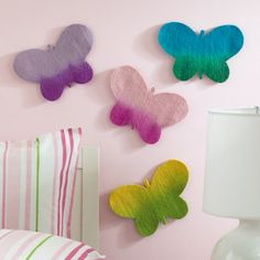 Love these colorful felt butterflies for decorating kids rooms!