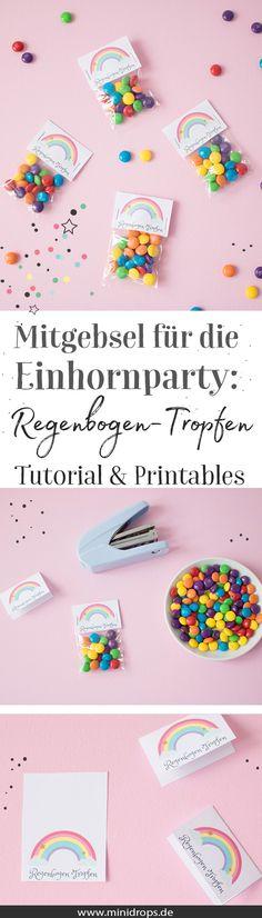 Ideen für eine Einhornparty zum Kindergeburtstag: Dekoration und kostenlose Printables. Zum Beispiel die für die regenbogen Tropfen. Süße Mitgebsel beim Einhorngeburtstag // #einhorn #kindergeburtstag #minidrops