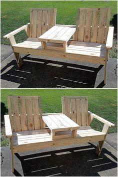 pallets garden double seat