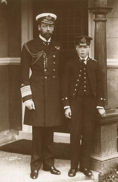 King George V of the United Kingdom and his son,the future Edward VIII (Duke of Windsor).