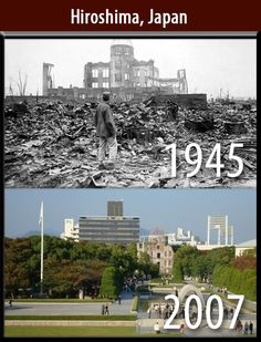 Hiroshima, Japan Before & After USA nuclear bomb. This shows mass destruction. Once the bomb was dropped that can't be taken back. The effects last longer than just an instant, this impacted society for a while, it caused many issues, and casualties. Fukushima, Hiroshima E Nagasaki, Prison, Historia Universal, Weapon Of Mass Destruction, Famous Photos, World Cities, Pearl Harbor, History Facts