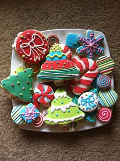 Bright Christmas Cookie Assortment - love the jewel tones. (buy India Natural food dyes..)
