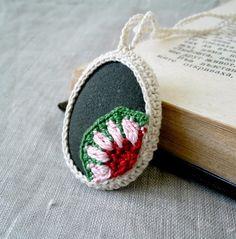 Crochet Stone Necklace - Crochet Jewelry - Crochet Floral Motif Stone Necklace - Beach Stone Pendant - Eco Friendly Necklace. $25.00, via Etsy.