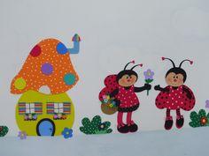 https://flic.kr/p/96bH2g | DECORANDO A CRECHE-PAINEL DE JOANINHAS | Visitando a galeria da RAQUEL-PINTANDO O 7,vi essas joaninhas lindas,numa pintura perfeita(vale a pena vc visitar tb!!!) e não resisti.Raquel,elas alegraram muito as crianças da creche,viu!