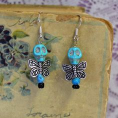 Faux Turquoise Skull Bead Dead Fairy Dangle by madrabbitcouture