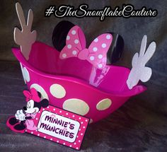 Minnie Mouse Party Snack Bowl by TheSnowflakeCouture on Etsy Mais Theme Mickey, Minnie Mouse Theme, Minnie Mouse Baby Shower, Mickey Party, Pink Minnie, Minnie Birthday, Baby 1st Birthday, 3rd Birthday Parties, Birthday Ideas