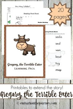 Here's a great collection of hands-on activities and a fun K-2 printable for Gregory, the Terrible Eater! | @homeschljourney