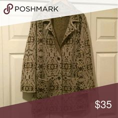 Free People - sweater coat Long Free People cardigan. Tan with a brown and yellow pattern. This is a reposh - super cute and cozy and in excellent condition, but sadly just not my size. Free People Sweaters Cardigans