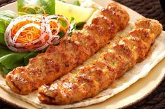 Mouth-watering Seekh Kababs - Typical Pakistani food.