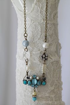 ❥ Sea Blues...Vintage Rhinestone Necklace...Repurposed